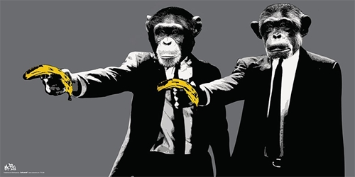 Banksy Bananas Pulp Fiction 12x24