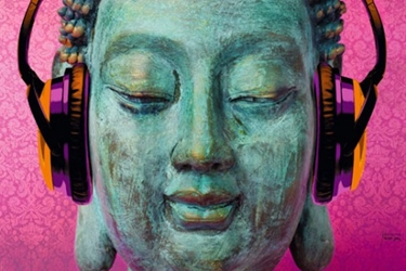 Buddha with Headphones wp