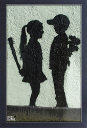 Framed Mini Poster - Banksy Boy Meets Girl