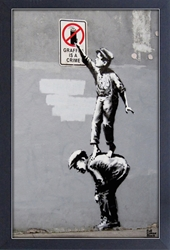 Framed Mini Poster - Banksy Graffiti is a Crime