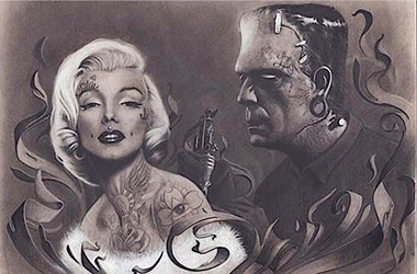 Frankenstein Tattooing Marilyn tatoo tattoo, jj