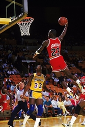 Jordan Dunking on Magic  wp chicago bulls los angeles lakers