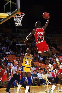Jordan Dunking on Magic  jj chicago bulls los angeles lakers