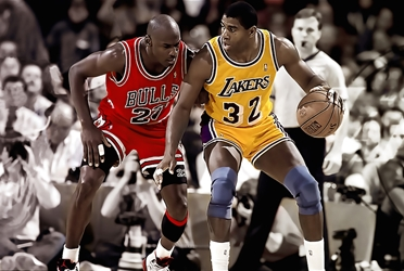 Jordan & Magic jj chicago bulls los angeles lakers