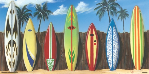 Surf Board Line-Up 12x24